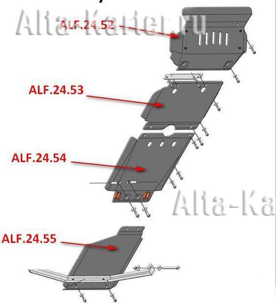 Защита Alfeco для КПП Toyota Fortuner I рестайлинг 2012-2015. Артикул ALF.24.54 st