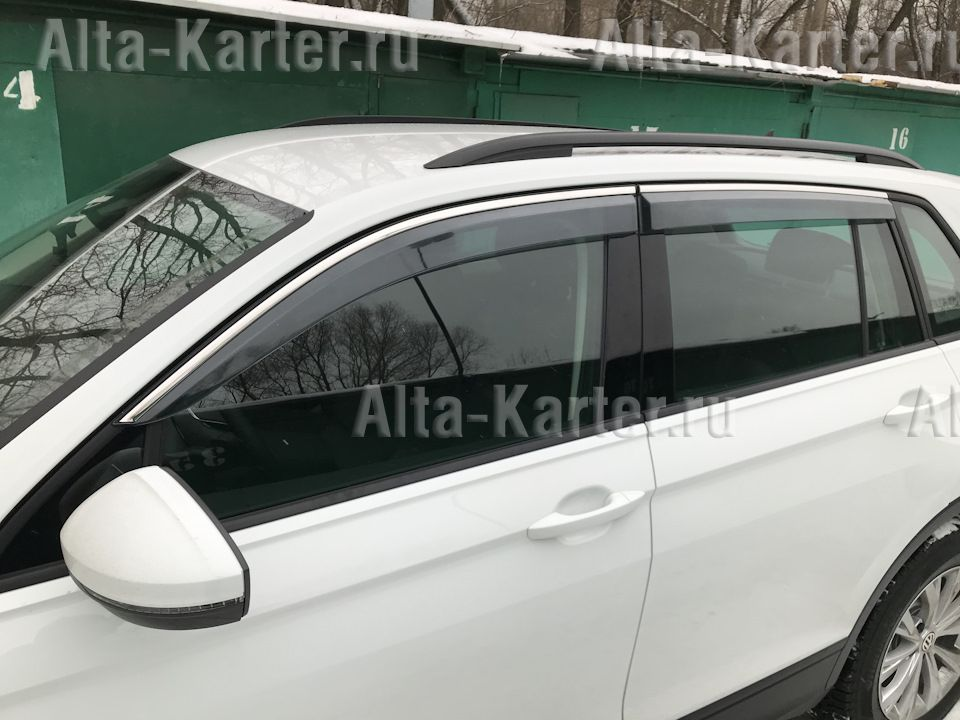 Дефлекторы Alvi-Style для окон с нержавеющим молдингом Volkswagen Tiguan II 2017 по наст. вр. Темно-дымчатые. Артикул ALV408M