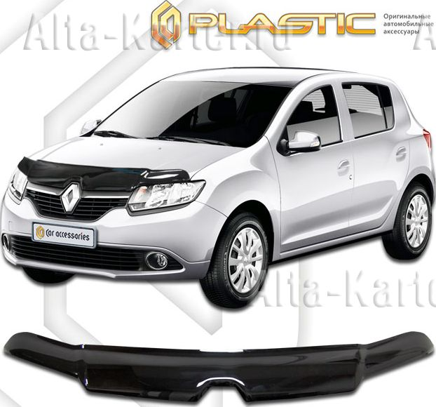 Дефлектор СА Пластик для капота (Classic черный) Renault Sandero 2014 по наст. вр.. Артикул 2010010110178