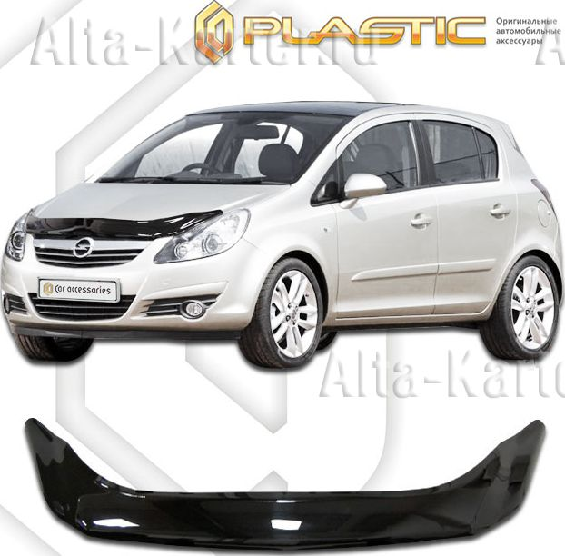 Дефлектор СА Пластик для капота (Classic черный) Opel Corsa 2007-2011. Артикул 2010010114596