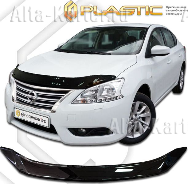 Дефлектор СА Пластик для капота (Classic черный) Nissan Sentra B17 2012 по наст. вр.. Артикул 2010010110925