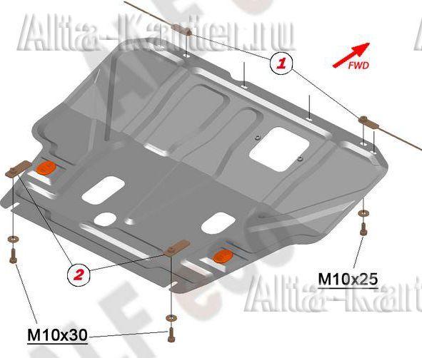 Защита Alfeco для картера и КПП Nissan Sentra B17 2012-2019. Артикул ALF.15.47 st