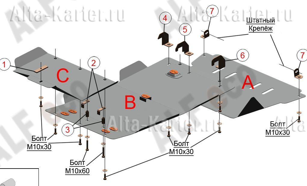Защита Alfeco для картера, КПП и раздатки Nissan NP300 2008-2015. Артикул ALF.15.60