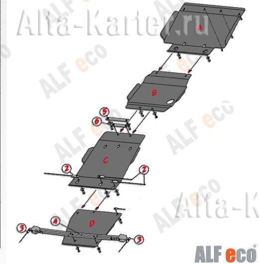 Защита Alfeco для радиатора, картера, КПП и РК Infiniti QX56 III 2010-2013. Артикул ALF.29.14+ALF.29.15