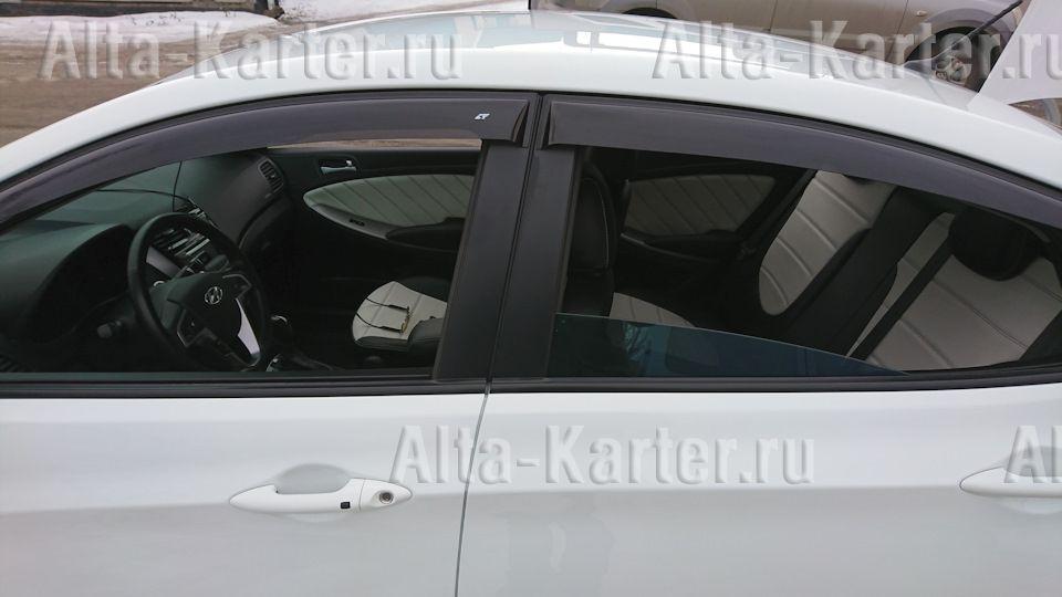 Дефлекторы Cobra Tuning для окон Hyundai Solaris I 2010-2017. Артикул H22510